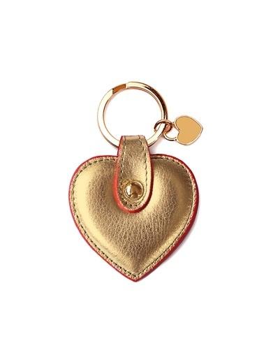 Leather & Paper Deri Kalp Anahtarlık Altın